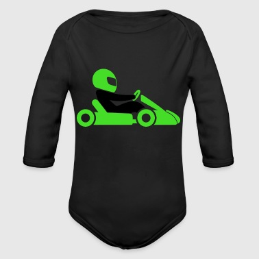 A Racer With Helmet And Car - Organic Long Sleeve Baby Bodysuit