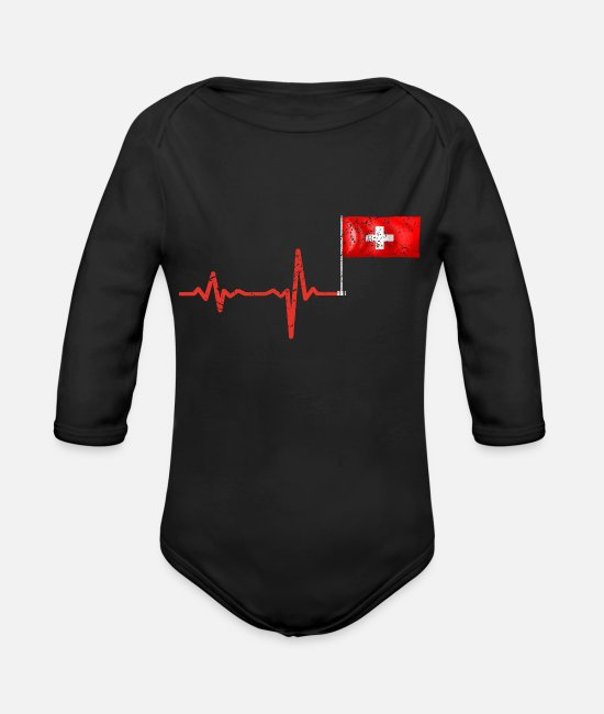 Bern Baby One Pieces - Heartbeat Switzerland flag gift - Organic Long-Sleeved Baby Bodysuit black