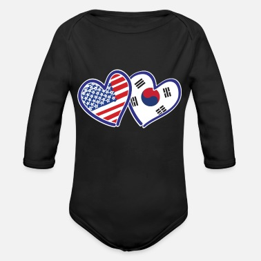 Korean USA-south-korean-flag - Organic Long-Sleeved Baby Bodysuit