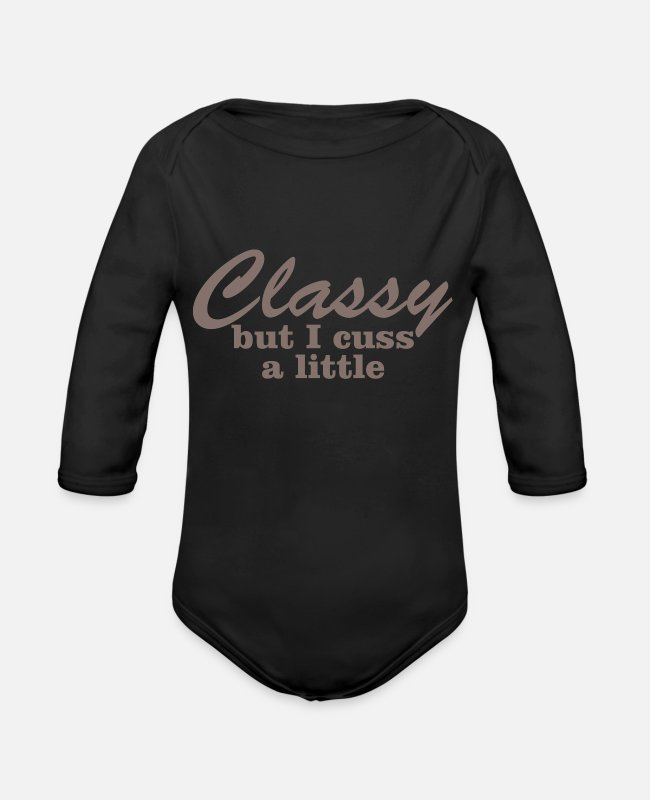 Little Red Riding Hood Baby One Pieces - Classy But I Cuss A Little 6 - Organic Long-Sleeved Baby Bodysuit black