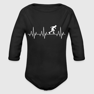 Heartbeat Inline Skater Rollerblades Skating - Organic Long Sleeve Baby Bodysuit