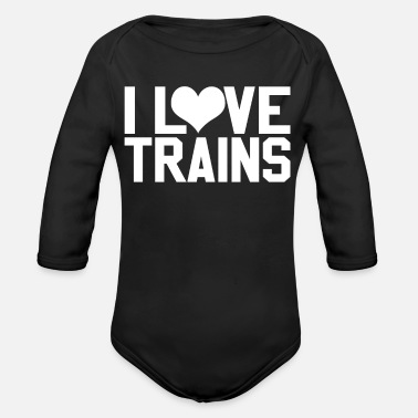 Love Train I LOVE TRAINS - Organic Long-Sleeved Baby Bodysuit