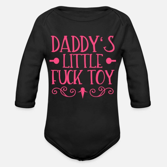 Toy Baby Clothing - Sex Daddy litte Fucktoy Sex Toys Eroticism - Organic Long-Sleeved Baby Bodysuit black