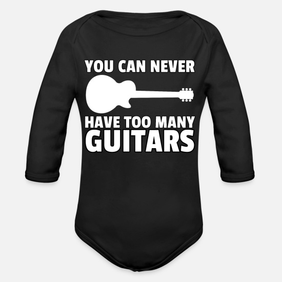 Birthday Baby Clothing - music guitar eguitar guitarist musician play gift - Organic Long-Sleeved Baby Bodysuit black