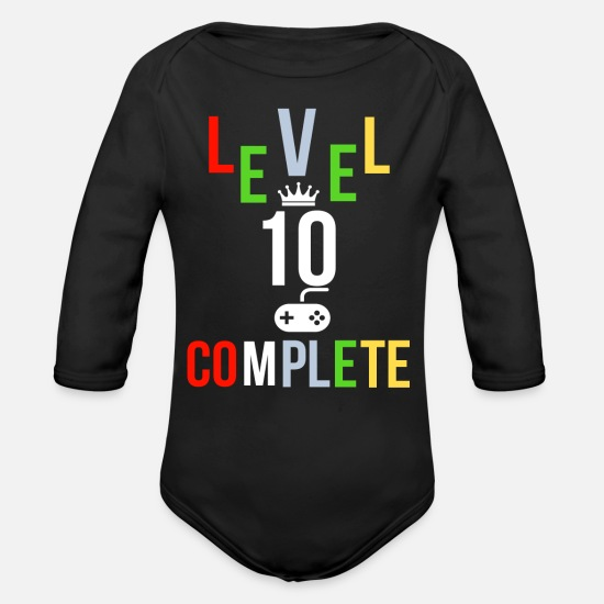 Kids Baby Clothing - Kids Birthday 10th Birthday Gambling Gamer - Organic Long-Sleeved Baby Bodysuit black