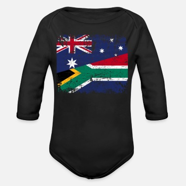 South AUSTRALIA SOUTH AFRICA FLAG - Half South African - Organic Long-Sleeved Baby Bodysuit