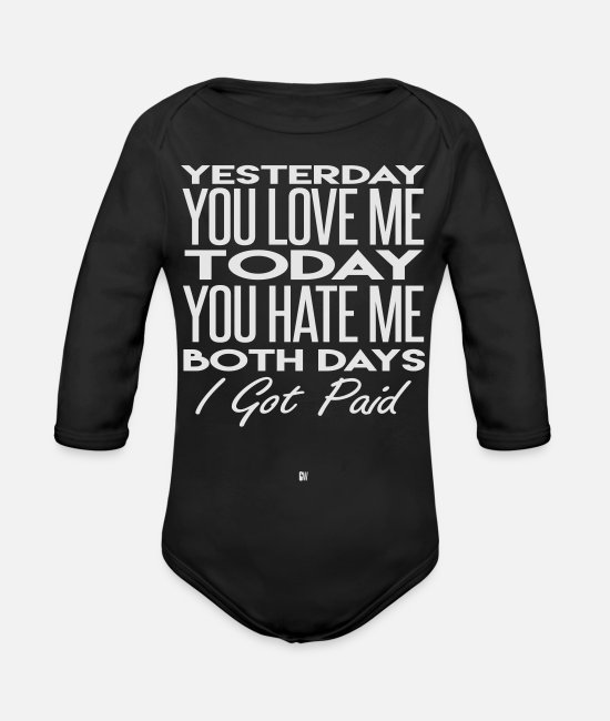 Days Baby One Pieces - Paid Both Days - Organic Long-Sleeved Baby Bodysuit black