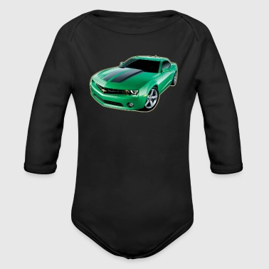 GREEN CHEVY CAMARO - Organic Long Sleeve Baby Bodysuit