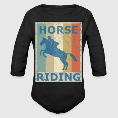 Retro Vintage Style Harness Racing Equitation - Organic Long Sleeve Baby Bodysuit