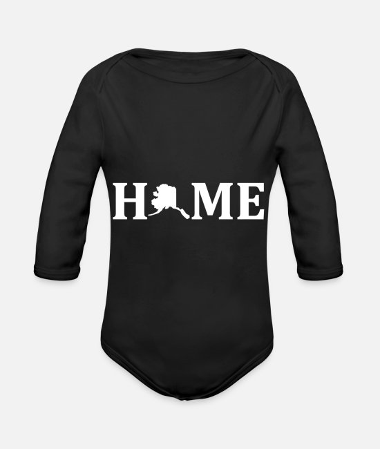 Proud Baby One Pieces - Alaska Is Home USA State Pride - Organic Long-Sleeved Baby Bodysuit black
