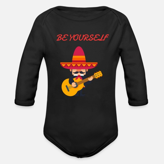 Birthday Baby Clothing - be yourself - Organic Long-Sleeved Baby Bodysuit black
