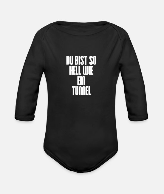 Idiot Baby One Pieces - Tunnel bright light dumb full post dumb smart fun - Organic Long-Sleeved Baby Bodysuit black