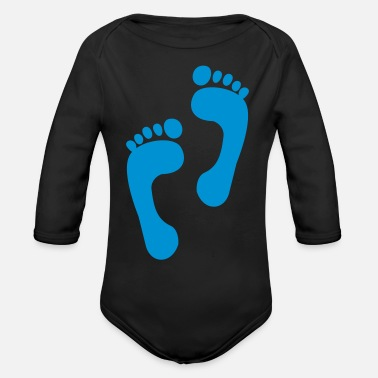 Foot foot - feet - foot print - Organic Long-Sleeved Baby Bodysuit