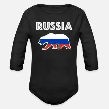 Russia Russia Russia bear brown bear gift nationality - Organic Long-Sleeved Baby Bodysuit