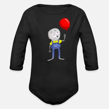 Dungarees Skeleton Bones dead Halloween Balloon Gift - Organic Long-Sleeved Baby Bodysuit