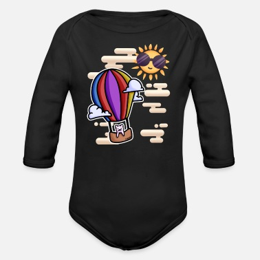 Air Cat Hot Air Balloon Sun - Organic Long-Sleeved Baby Bodysuit