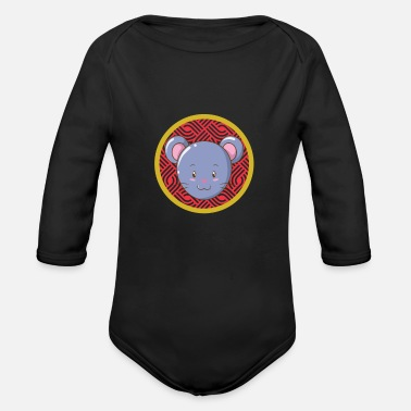 Fire Hare Chinese Zodiac - Organic Long-Sleeved Baby Bodysuit