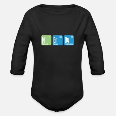Brain Nerdy chemistry periodic table - Organic Long-Sleeved Baby Bodysuit