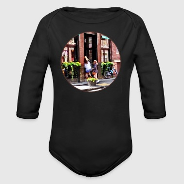 Boston MA - Cafe in Little Italy - Organic Long Sleeve Baby Bodysuit
