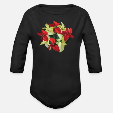 Poinsettia Circle of Poinsettias - Organic Long-Sleeved Baby Bodysuit