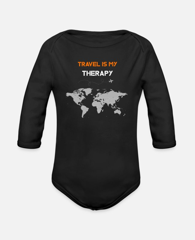 Lovers Baby One Pieces - traveling , travel , traveler , traveling gifts - Organic Long-Sleeved Baby Bodysuit black