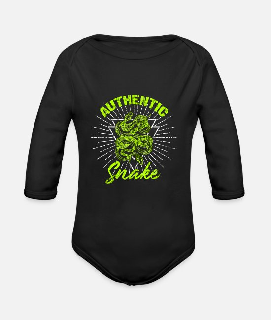 Cobra Baby One Pieces - Snake Christmas Birthday Gift Idea - Organic Long-Sleeved Baby Bodysuit black