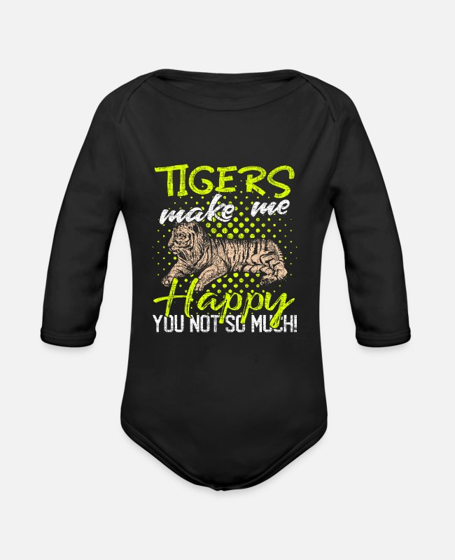 Asia Baby One Pieces - Tiger - Organic Long-Sleeved Baby Bodysuit black
