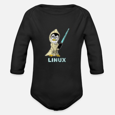 Hacker Linux Retro Linux Penguin for Linux Admin and Hacker - Organic Long-Sleeved Baby Bodysuit