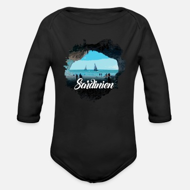 Palm Trees Sardinia Cave Picture, Hiking & Camping - Organic Long-Sleeved Baby Bodysuit