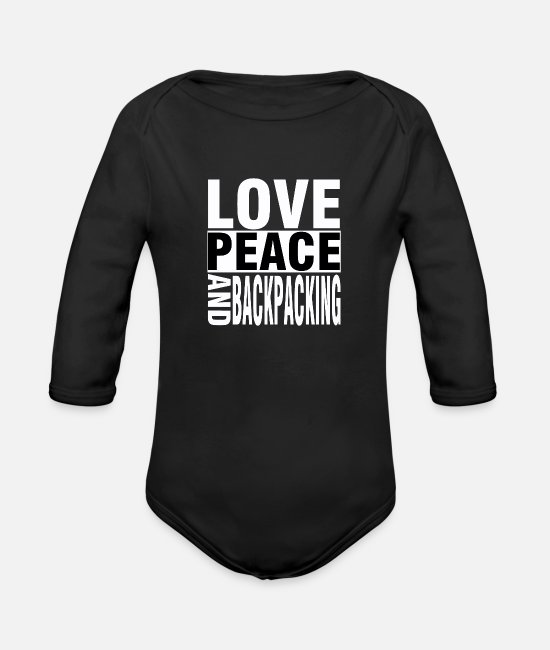 Travel Bug Baby One Pieces - Travel Love Peace Backpacking World Travel Funny - Organic Long-Sleeved Baby Bodysuit black
