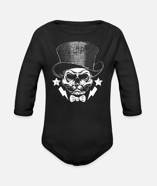 Stag Baby One Pieces - Stag Night Skull - Organic Long-Sleeved Baby Bodysuit black