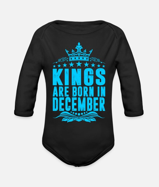 Husband Baby One Pieces - Kings Are Born In December - Organic Long-Sleeved Baby Bodysuit black