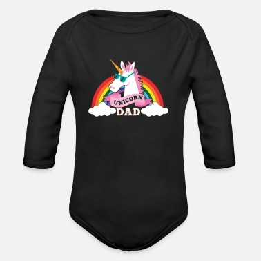 Sunglasses Unicorn Dad - cool sunglasses father - Organic Long Sleeve Baby Bodysuit