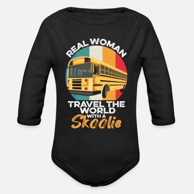 Short Camping Bus Quote for a Skoolie Woman - Organic Long-Sleeved Baby Bodysuit