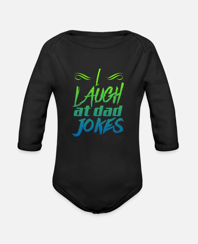 Jokes Baby One Pieces - father jokes - Organic Long-Sleeved Baby Bodysuit black