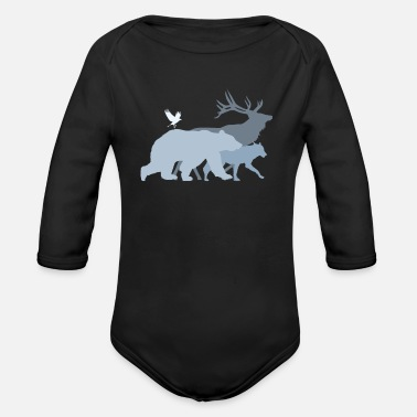 Forest Forest Animals Grey - Organic Long-Sleeved Baby Bodysuit