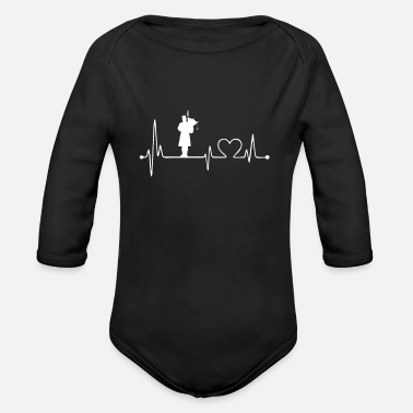 Foling Love Xmas Present Gifts Idea Bagpipe Heartbeat Irish - Organic Long-Sleeved Baby Bodysuit