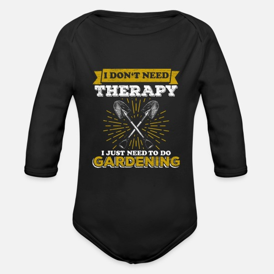 Gift Idea Baby Clothing - Garden Gardener - Organic Long-Sleeved Baby Bodysuit black