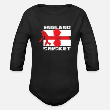 England England cricket - cricket player flag gift - Organic Long-Sleeved Baby Bodysuit