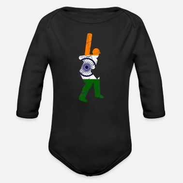 Cricket Cricket cricket player gift India - Organic Long-Sleeved Baby Bodysuit