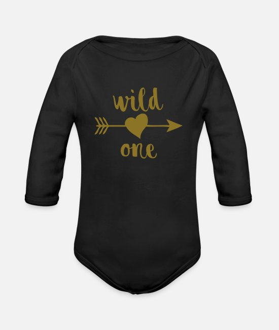 1st Birthday Baby One Pieces - Wild One - Organic Long-Sleeved Baby Bodysuit black