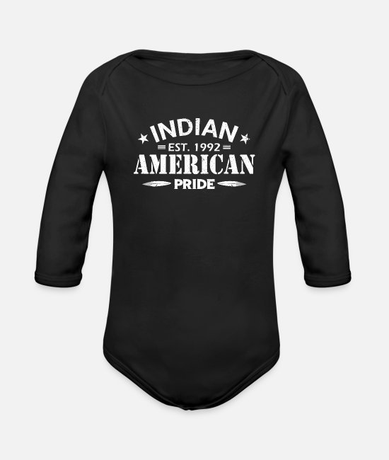Proud Baby One Pieces - INDIAN AMERICAN PRIDE - Organic Long-Sleeved Baby Bodysuit black