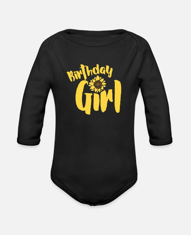 Sunflwoers Baby One Pieces - Birthday Girl - Organic Long-Sleeved Baby Bodysuit black