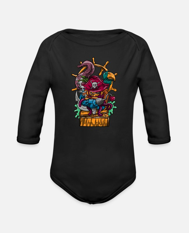 Rover Baby One Pieces - Pirate Skull Bird Bandit Rover Robber Raider Gift - Organic Long-Sleeved Baby Bodysuit black
