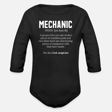 Mechanic Fun Shirt Gift For Car Mechanics And DIY - Organic Long-Sleeved Baby Bodysuit