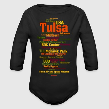 State Capital Tulsa (Oklahoma, USA, Oil Capital) - Organic Long Sleeve Baby Bodysuit