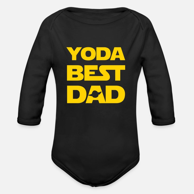 Dad Baby Clothing - YODA BEST DAD IN WHOLE THE UNIVERSE - Organic Long-Sleeved Baby Bodysuit black