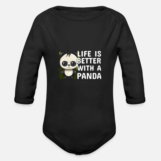 Koala Baby Clothing - panda Bears Animal rights act Quote funny awesome - Organic Long-Sleeved Baby Bodysuit black