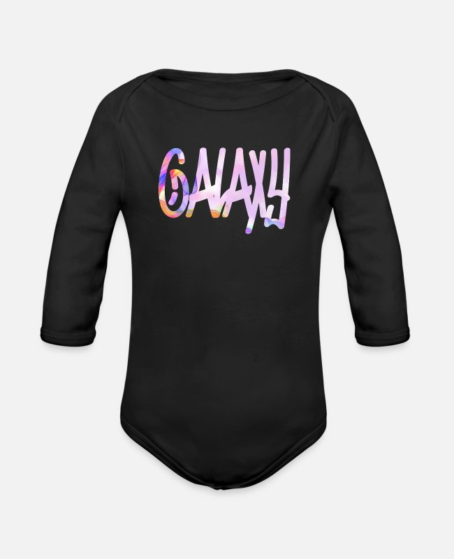 Galaxy Baby One Pieces - Galaxy - Organic Long-Sleeved Baby Bodysuit black