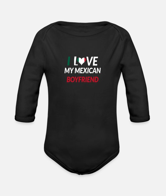 South America Baby One Pieces - I Love My Mexican Boyfriend Couple Marriage Gift - Organic Long-Sleeved Baby Bodysuit black
